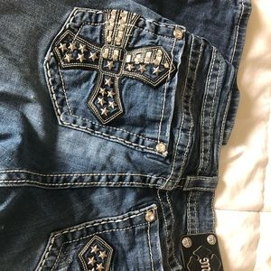 Miss Mee Jeans.  Beautiful Cross Back Pockets